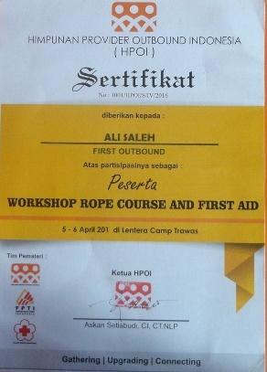 Sertifikasi Kompentensi Workshop, Transkrip Nilai, Diterbitkan oleh Himpunan Provider Outbound Indonesia
