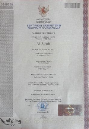 Sertifikasi Kompetensi Kepemanduan Wisata Outbound diterbitkan LSP (Lembaga Sertifikasi Profesi) Republik Indonesia